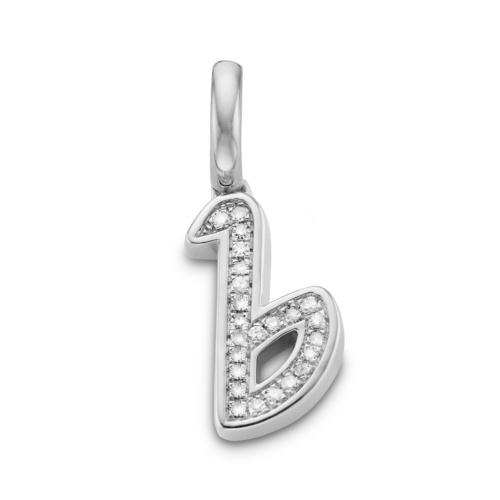 Diamond Alphabet Pendant B - Diamond - Monica Vinader