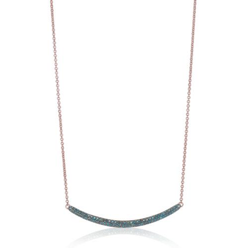 Rose Gold Vermeil Skinny Curve Necklace - Blue Diamond - Monica Vinader
