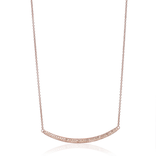 Rose Gold Vermeil Skinny Curve Necklace - Champagne Diamond - Monica Vinader