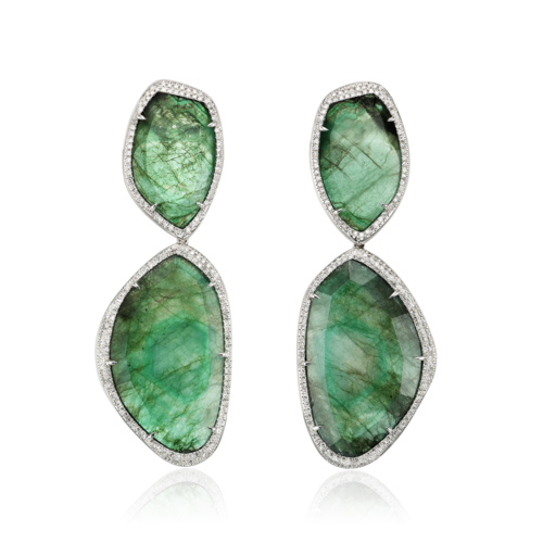 Gala Cocktail Earrings - Emerald - Monica Vinader
