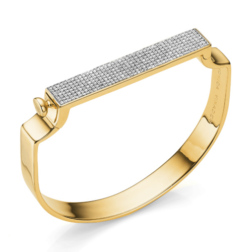 Gold Vermeil Signature Petite Bangle - Diamond - Monica Vinader