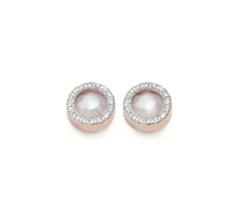 Rose Gold Vermeil Naida Circle Stud Earrings - Moonstone and Diamonds Front