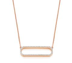 Rose Gold Vermeil Naida Rectangle Open Necklace - Diamond