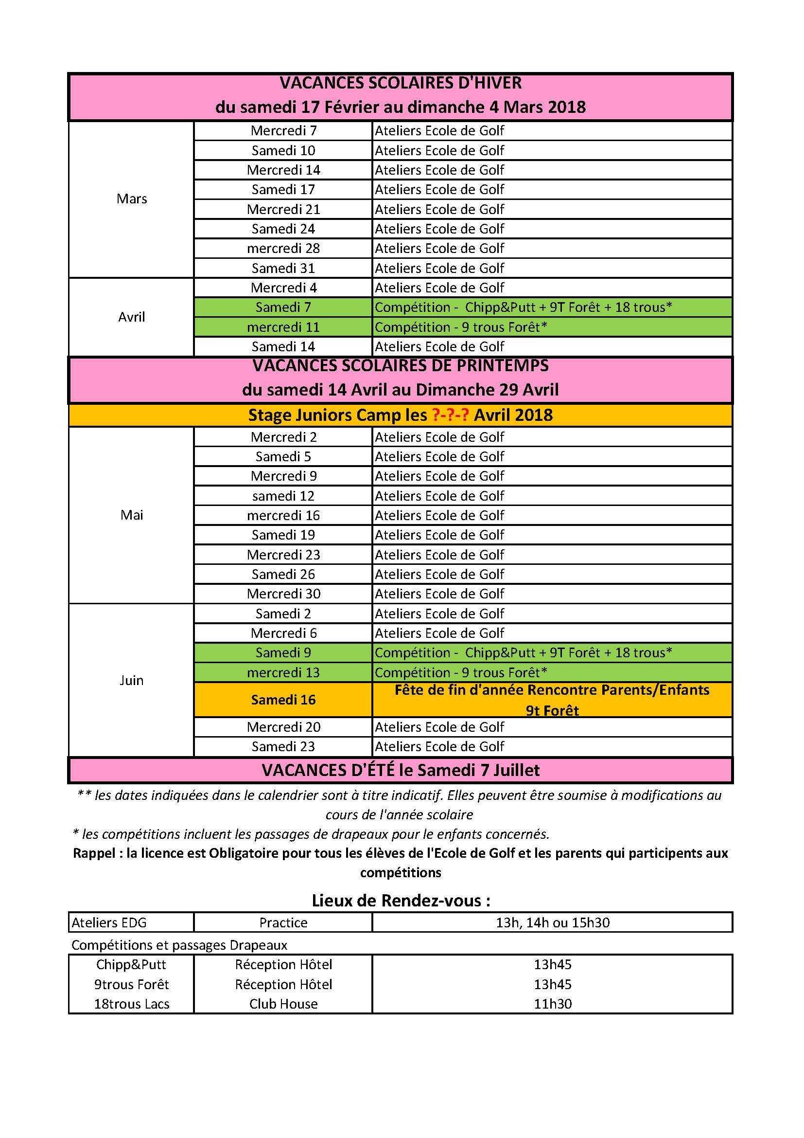 Calendrier Ecole De Golf 2017 2018 002 Page 2