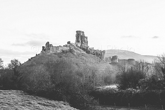Corfe castle black and white