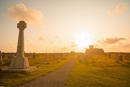 St Materiana's Church Tintagel at sunset