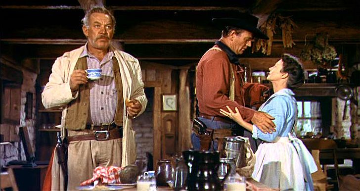 Dorothy Jordan, Ward Bond & John Wayne in The Searchers