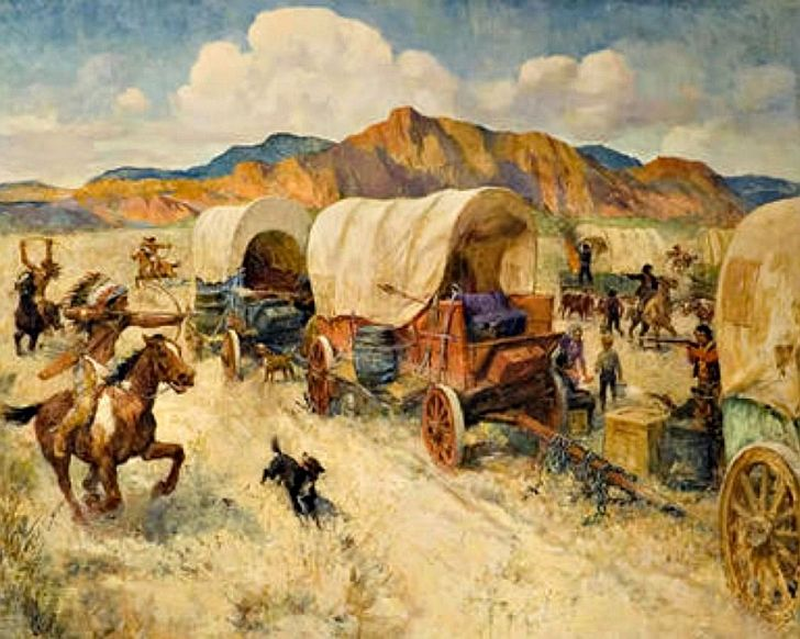 Wagon train circling attacked by Indians