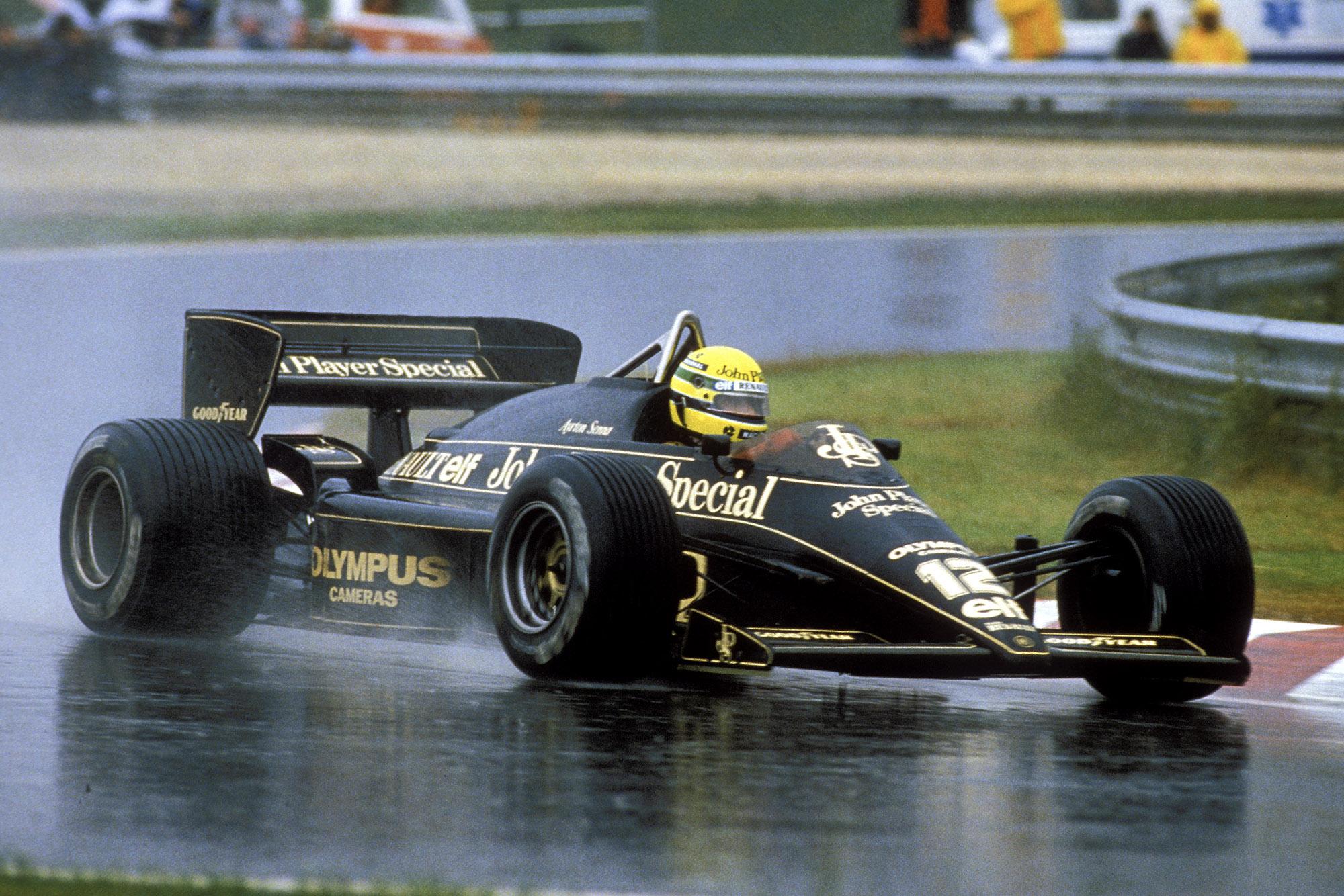 Ayrton Senna in the rain at the 1985 Portuguese Grand Prix