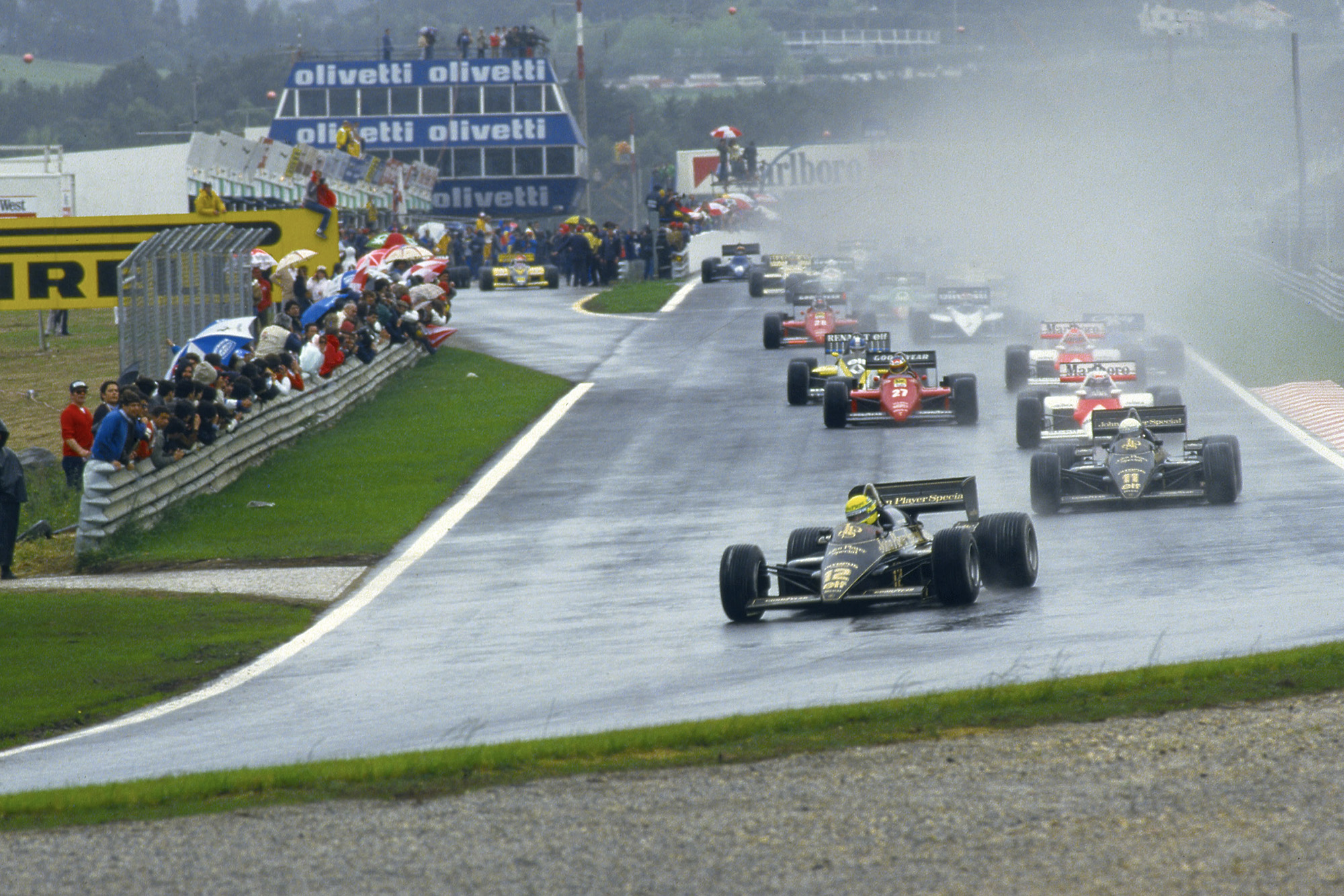 Ayrton Senna leads from the start of the 1985 Portuguese Grand Prix