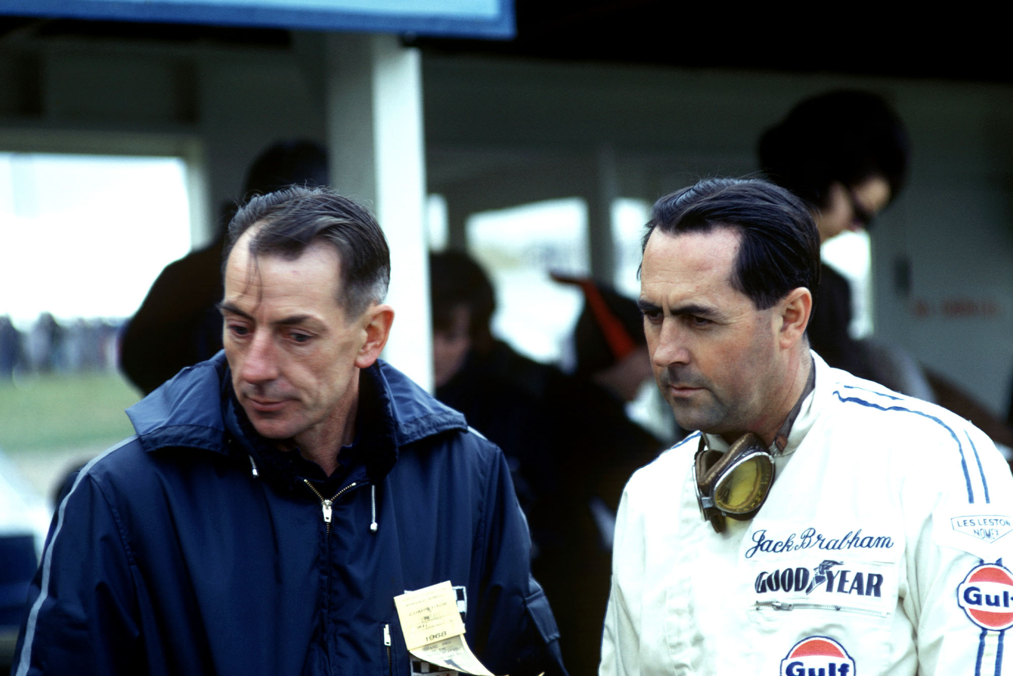Jack Brabham, right, with his business partner and Brabham car designer Ron Tauranac.
