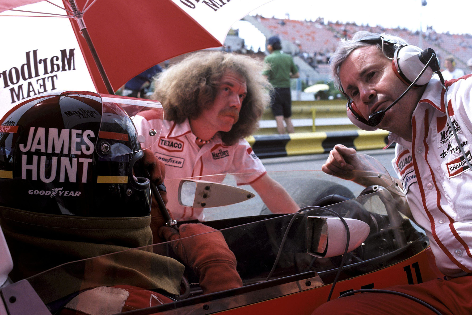 James Hunt prepares for the start of the 1977 Argentine Grand Prix, Buenos Aires