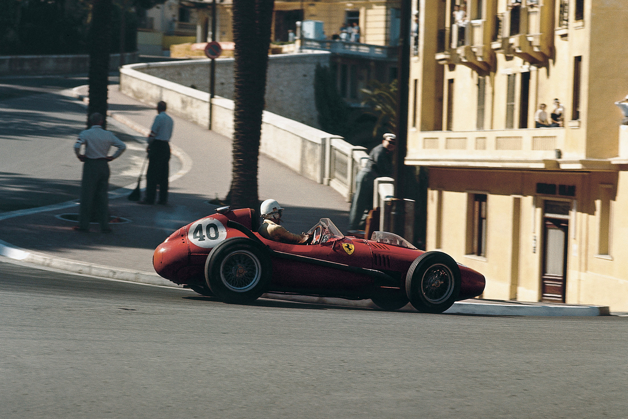 Ferrari's Wolfgang von Trips takes on the Loews hairpin at the 1958 Monaco Grand Prix