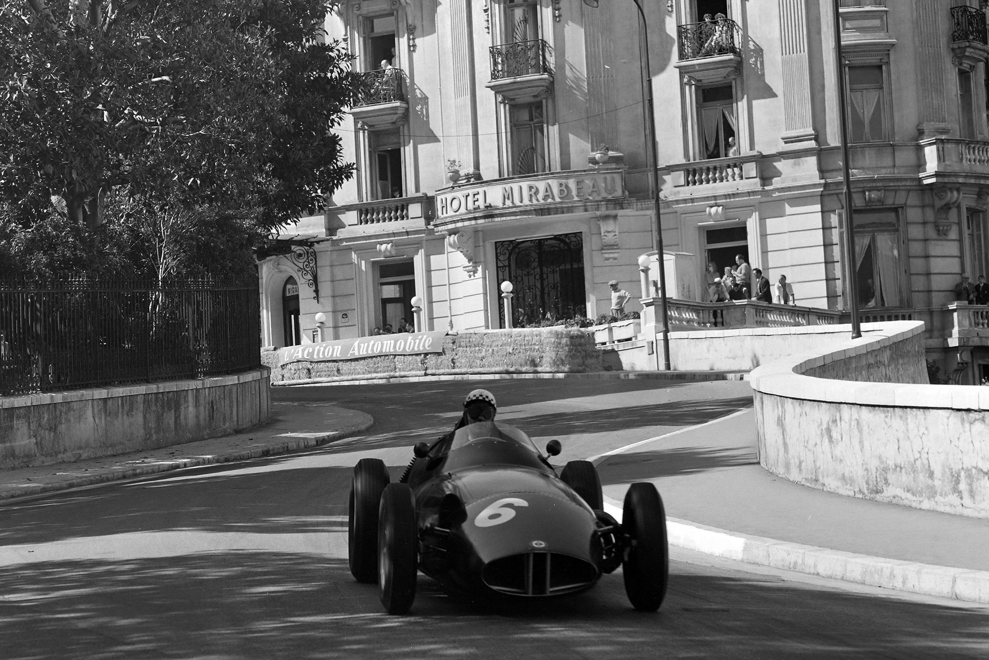 BRM's Jean Behra approaches the Loews Hairpin, 1958 Monaco Grand Prix