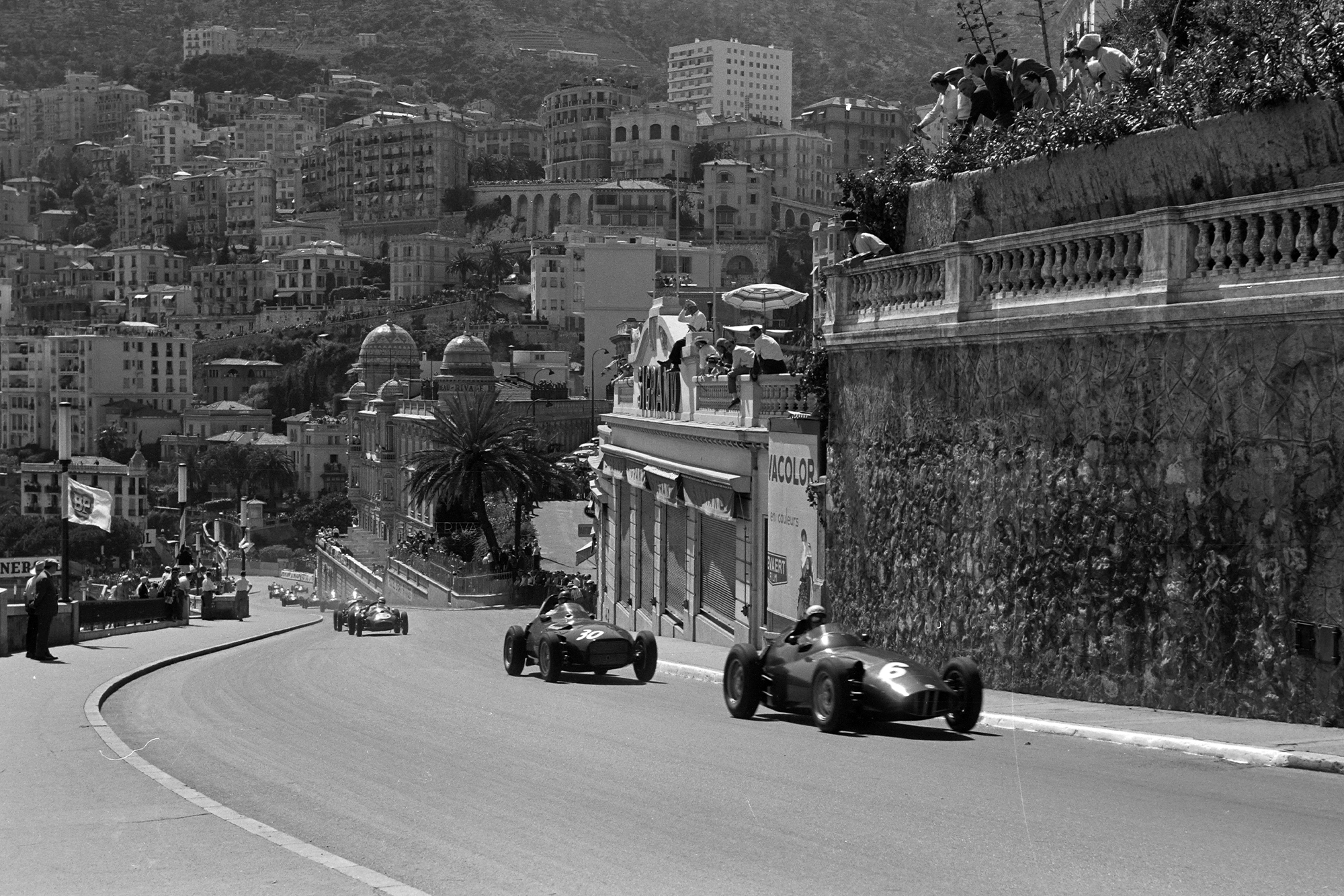 Jean Behra, BRM P25, leads Tony Brooks, Vanwall, as Jack Brabham, Cooper T45 Climax, heads the chasing pack, 1958 Monaco GP.
