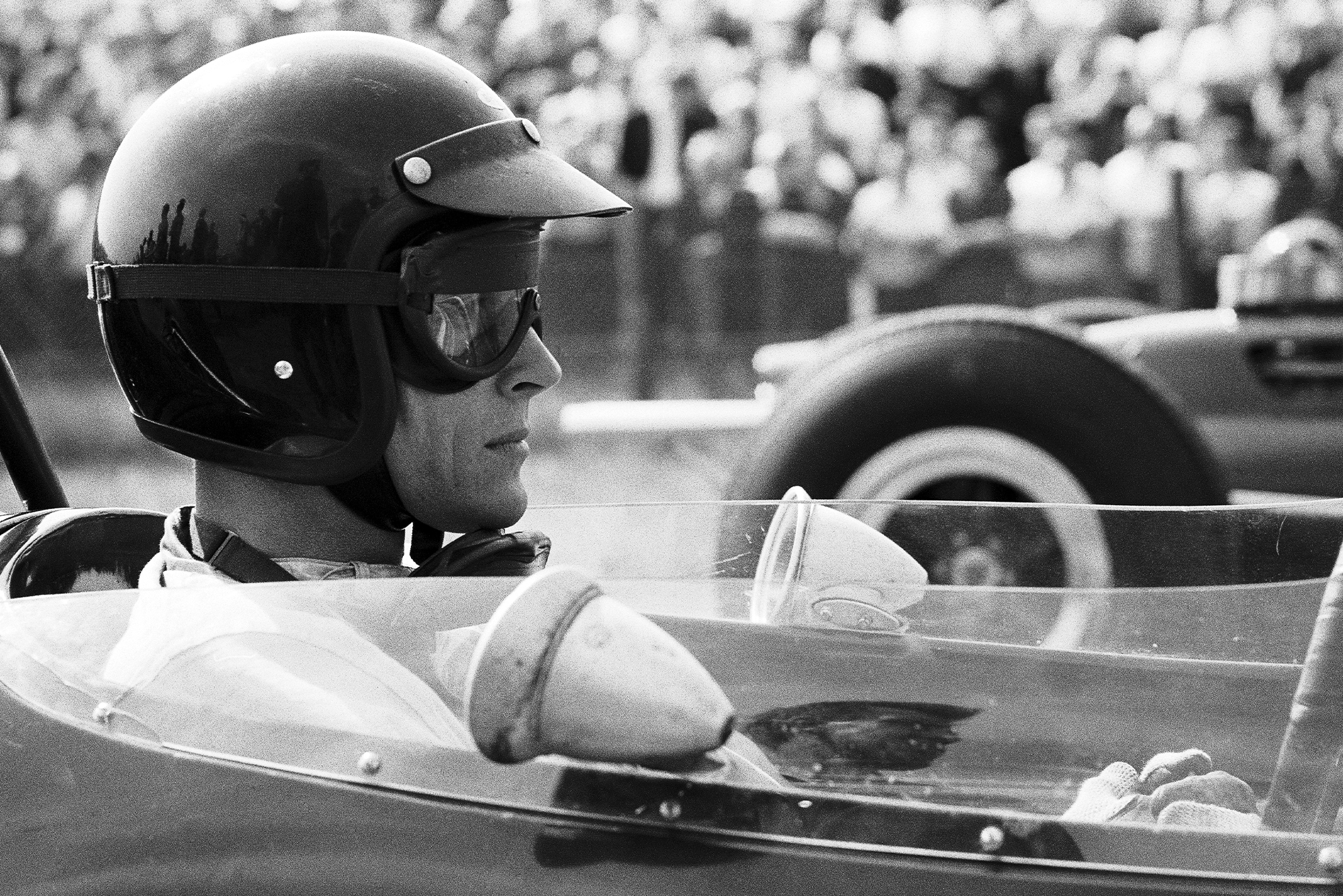 Dan Gurney awaits the start of the race in his Brabham