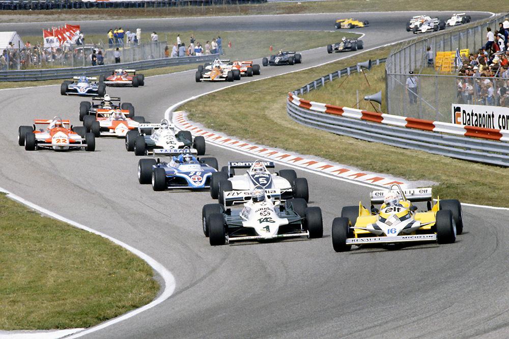 Rene Arnoux (Renault RE30) leads Alan Jones (Williams FW07C-Ford Cosworth), Nelson Piquet (Brabham BT49C-Ford Cosworth), Jacques Laffite (Ligier JS17-Matra), Carlos Reutemann (Williams FW07C-Ford Cosworth), Mario Andretti (Alfa Romeo 179C), John Watson (McLaren MP4/1-Ford Cosworth), Elio de Angelis (Lotus 87-Ford Cosworth), Patrick Tambay (Ligier JS17-Matra), Didier Pironi (Ferrari 126CK), Riccardo Patrese (Arrows A3-Ford Cosworth), Bruno Giacomelli (Alfa Romeo 179C), Hector Rebaque (Brabham BT49C-Ford Cosworth), Derek Daly (March 811-Ford Cosworth) and Nigel Mansell (Lotus 87-Ford Cosworth).