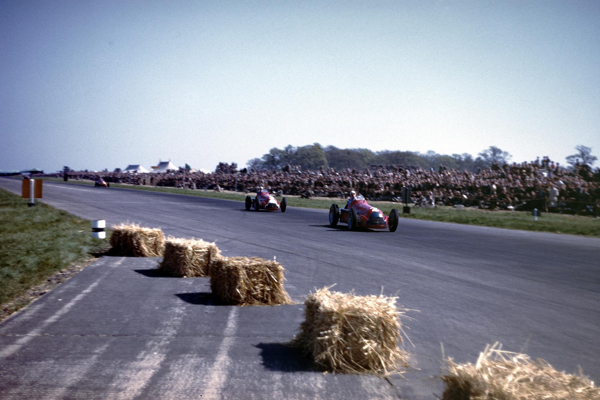 Alfa Romeos on track at the 1950 British Grand Prix at Silverstone