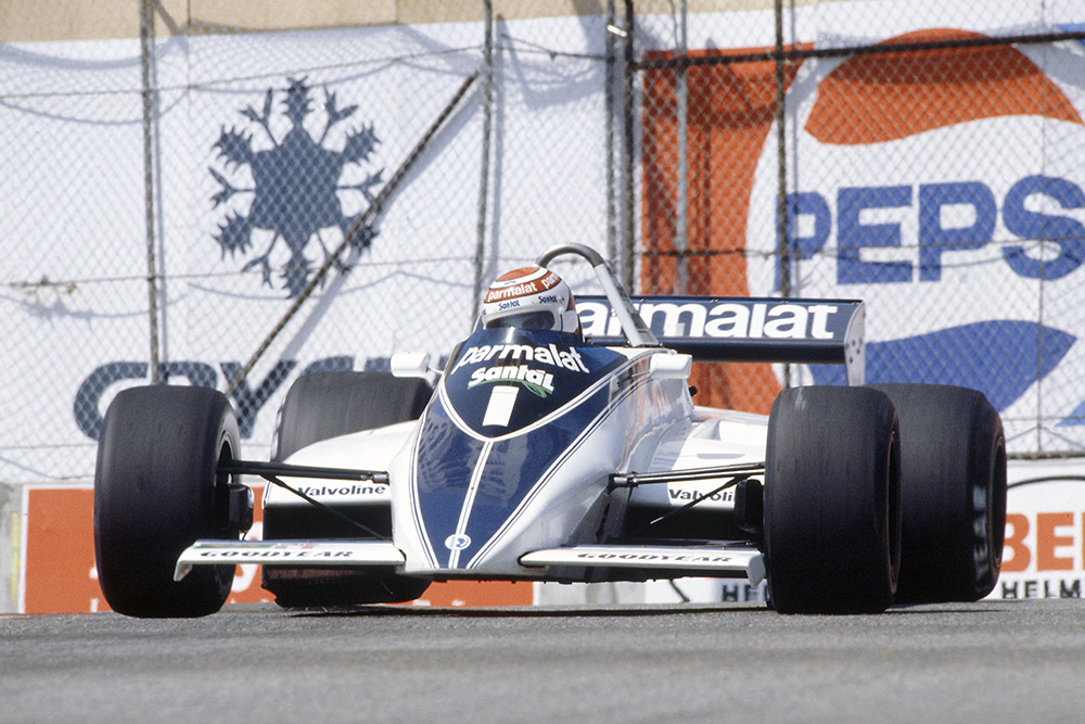 Nelson Piquet in his Brabham BT49D-Ford Cosworth), he later retired.