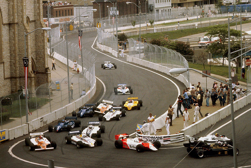 Mauro Baldi (Arrows A4 Ford) hits Brian Henton (Tyrrell 011 Ford) and Raul Boesel (March 821 Ford) coming into Turn 5.
