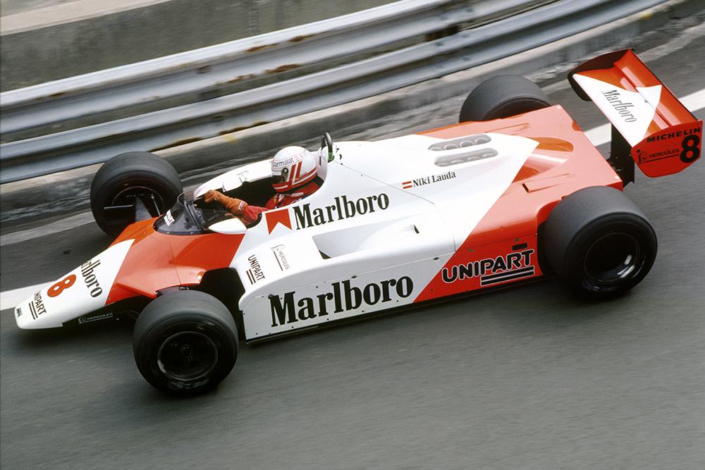 Niki Lauda in his McLaren MP4/1B-Ford.