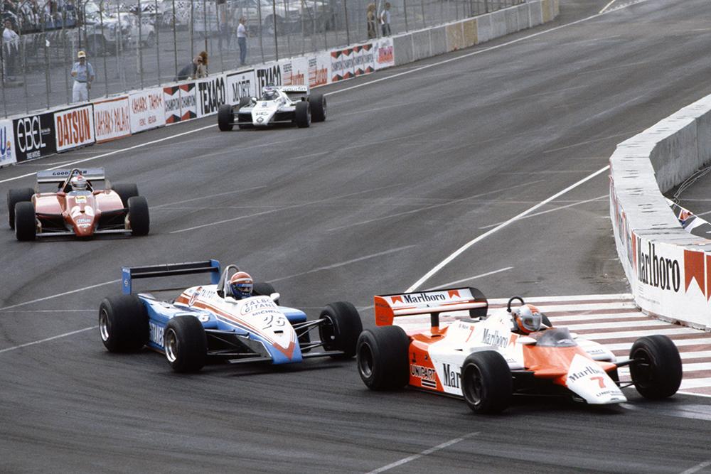 Eddie Cheever (Talbot Ligier JS19 Matra), Mario Andretti (Ferrari 126C2) and Derek Daly (Williams FW08 Ford).
