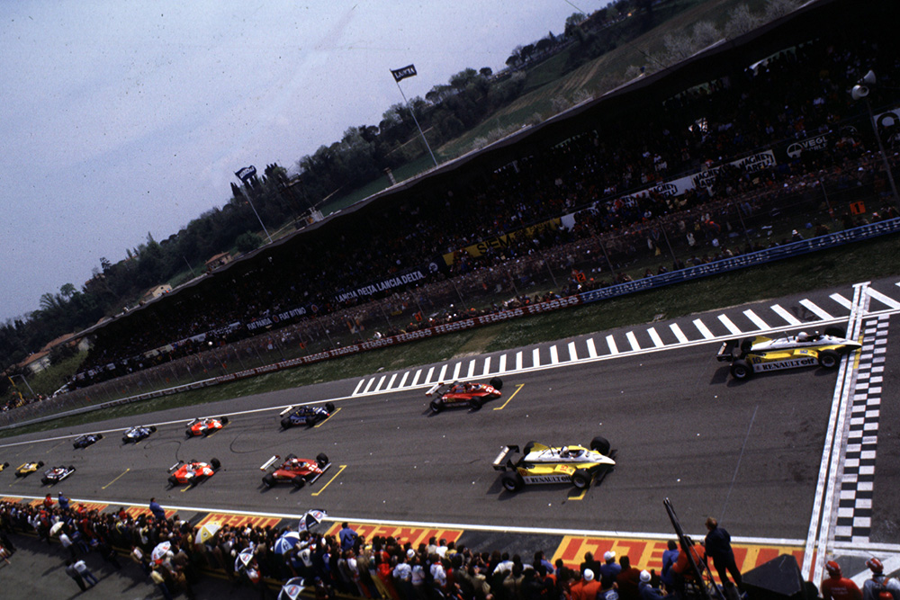 The Renault pairing of Rene Arnoux and Alain Prost fill the front row at Imola in front of the Ferrari's and eventual 1-2 finishers Didier Pironi and Gilles Villeneuve.