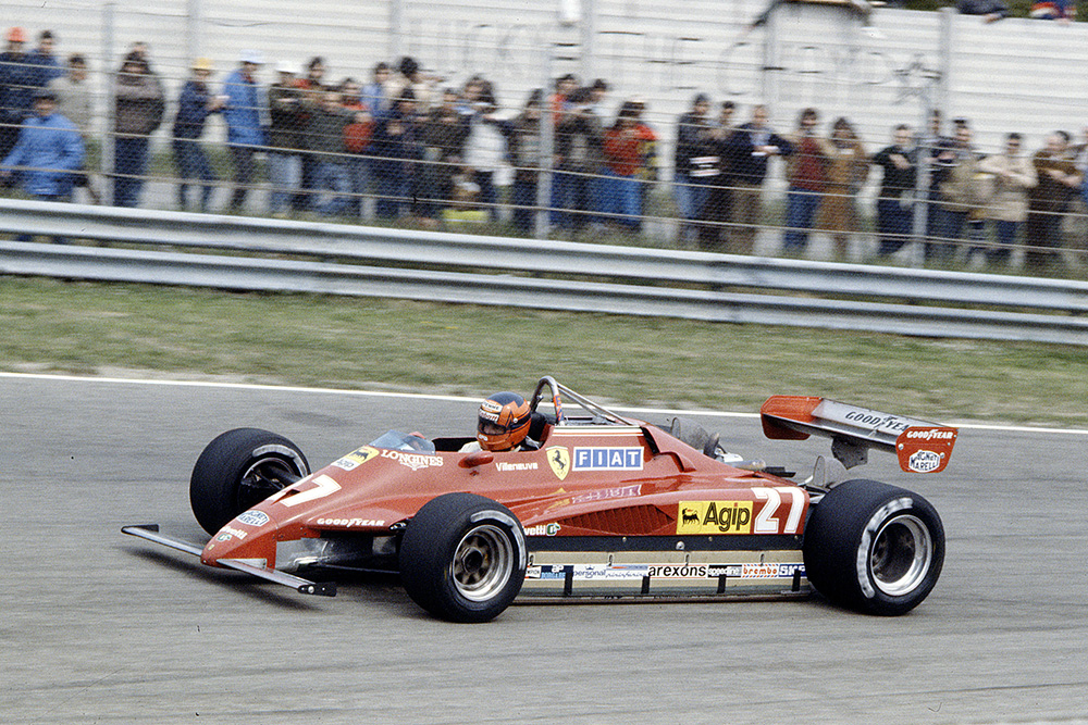 Gilles Villeneuve in his Ferrari 126C2.