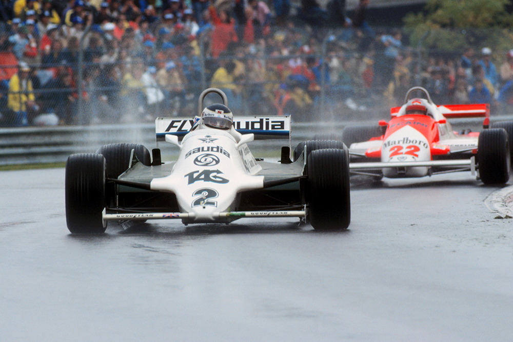 Despite starting second on the grid, Carlos Reutemann (Williams FW07C) finished 10th and three laps down.