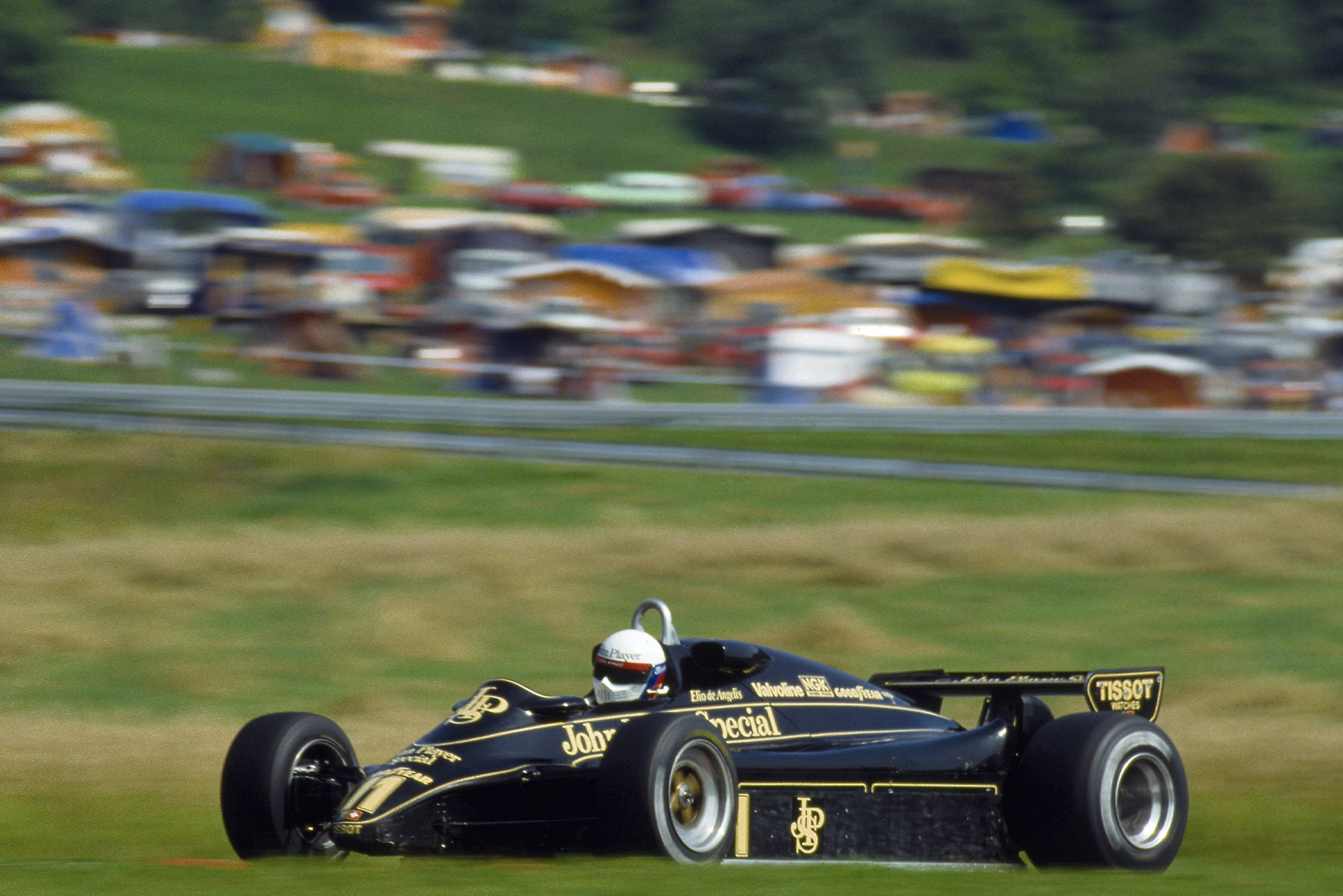 Elio de Angelis on his way to victory at the Osterreichring in the 1982 Austrian Grand Prix