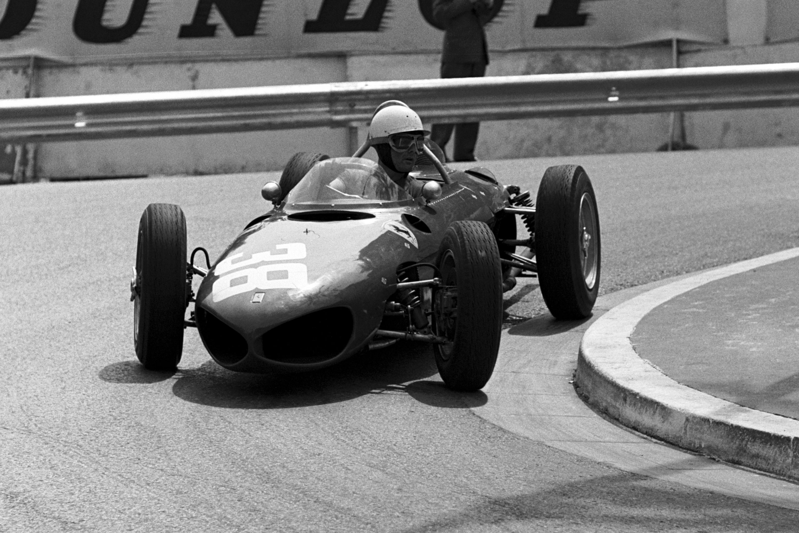 Phil Hill at the whee of his Ferrari 156.