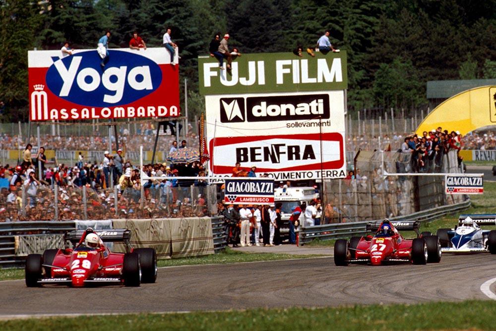 Rene Arnoux leads Ferrari team mate and race winner Patrick Tambay.