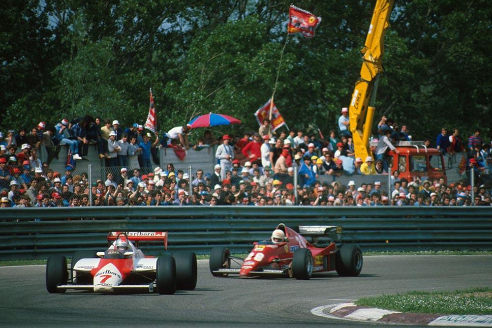 John Watson, McLaren, leads the Ferrari of Rene Arnoux.