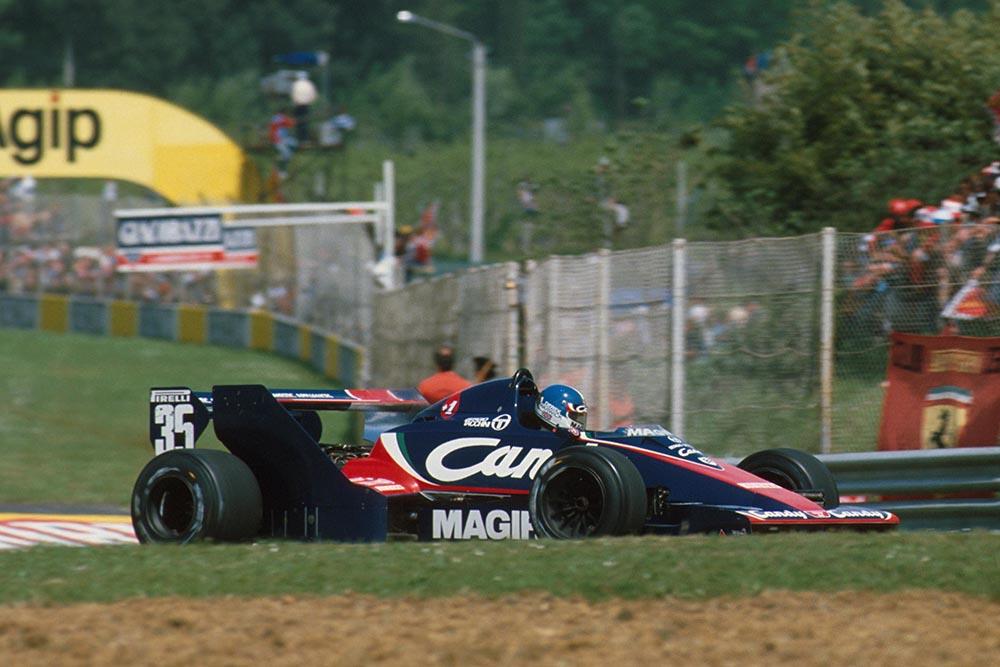 Derek Warwick in his Toleman TG183B.