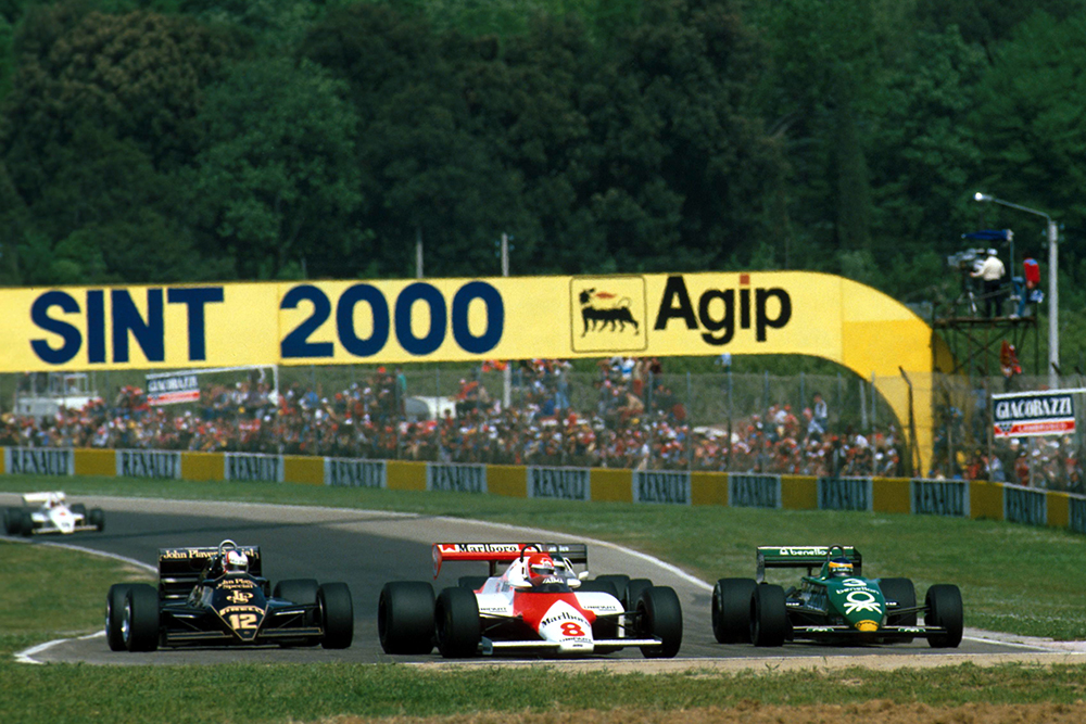 The McLaren of Niki Lauda leads the Lotus of Nigel Mansell, left, and the Tyrrell of Michele Alboreto.