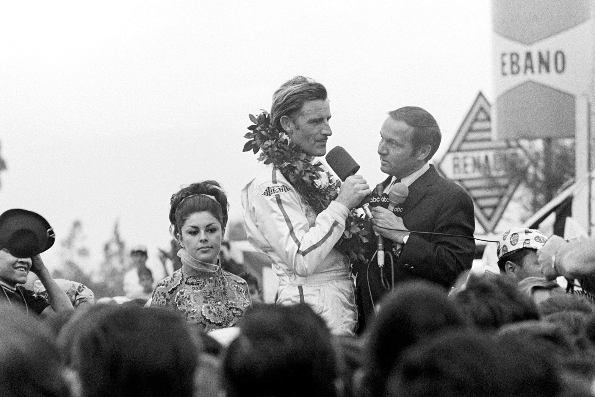 Graham Hill on the podium after winning the 1968 Mexican Grand Prix and F1 Driver's Championship with it.