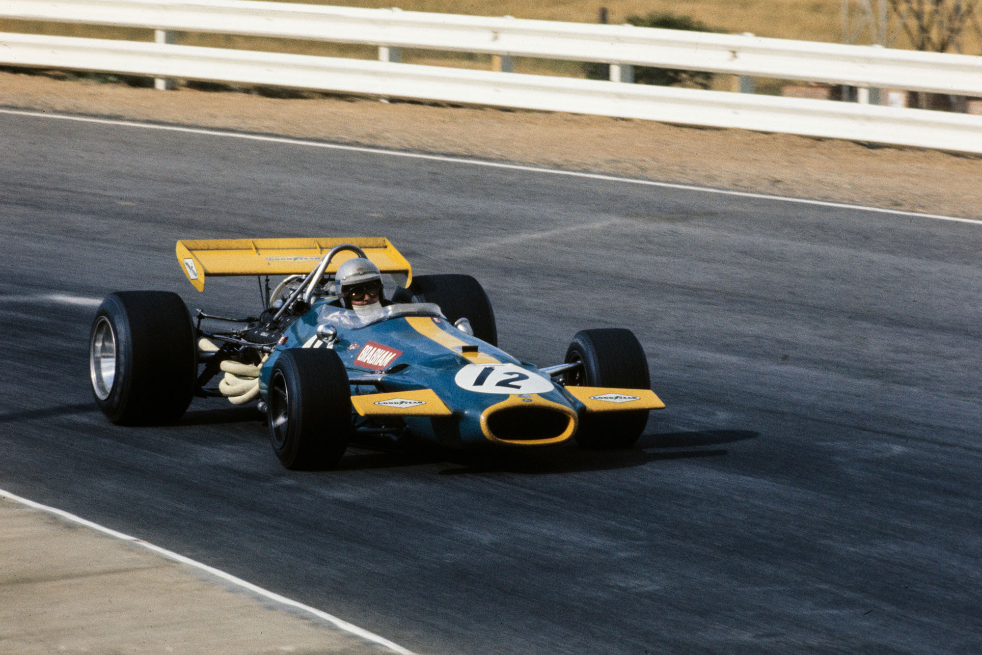 Jack Brabham driving for his own Brabham team at the 1969 South African Grand Prix.