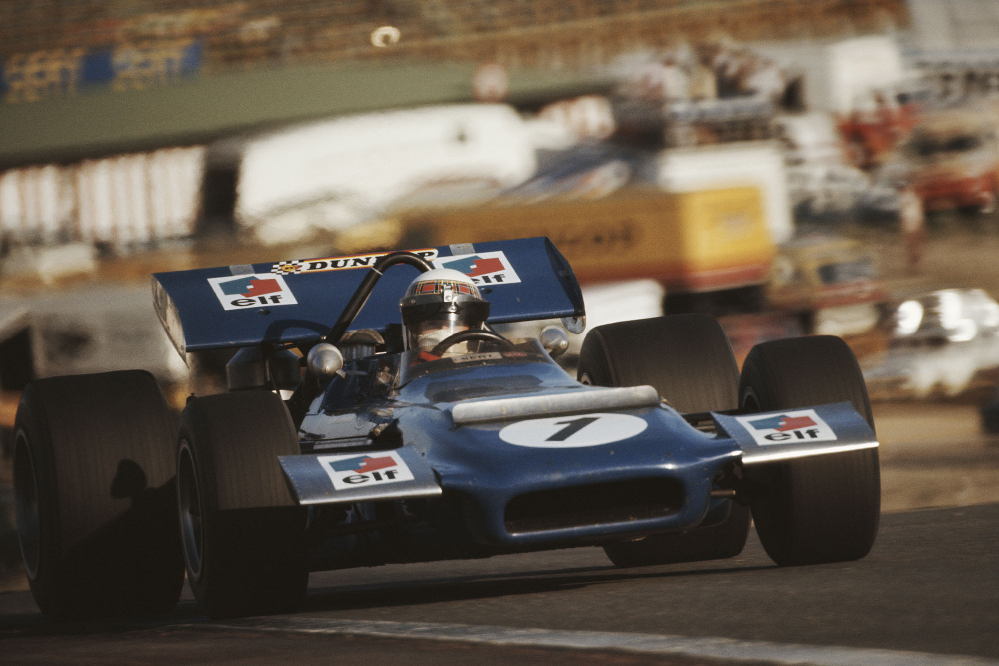 Jackie Stewart in his Tyrrell at the 1970 Spanish Grand Prix