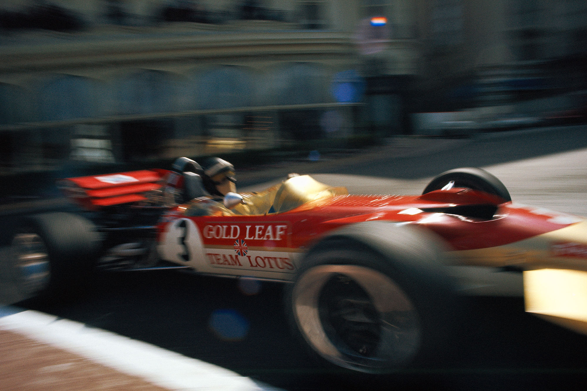 Jochen Rindt flashes past the camera at the 1970 Monaco Grand Prix.