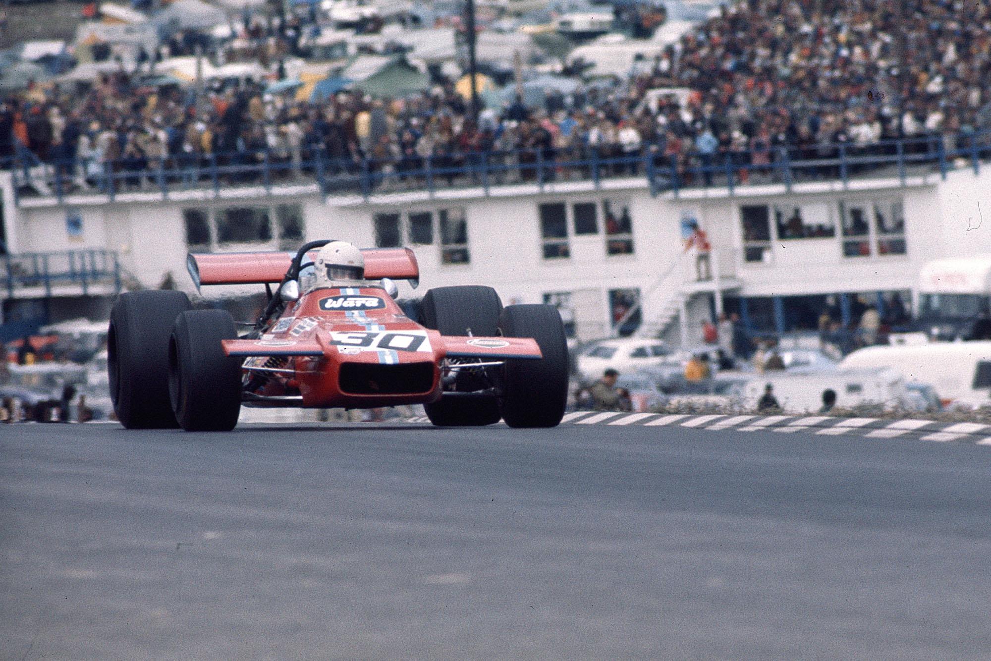 Tim Schenken driving a Frank Williams De Tomaso at the 1970 United States Grand Prix.