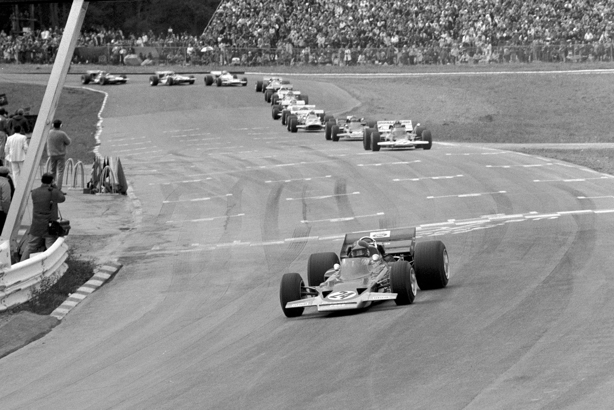 Emerson Fittipaldi driving for Lotus at the 1970 United States Grand Prix.