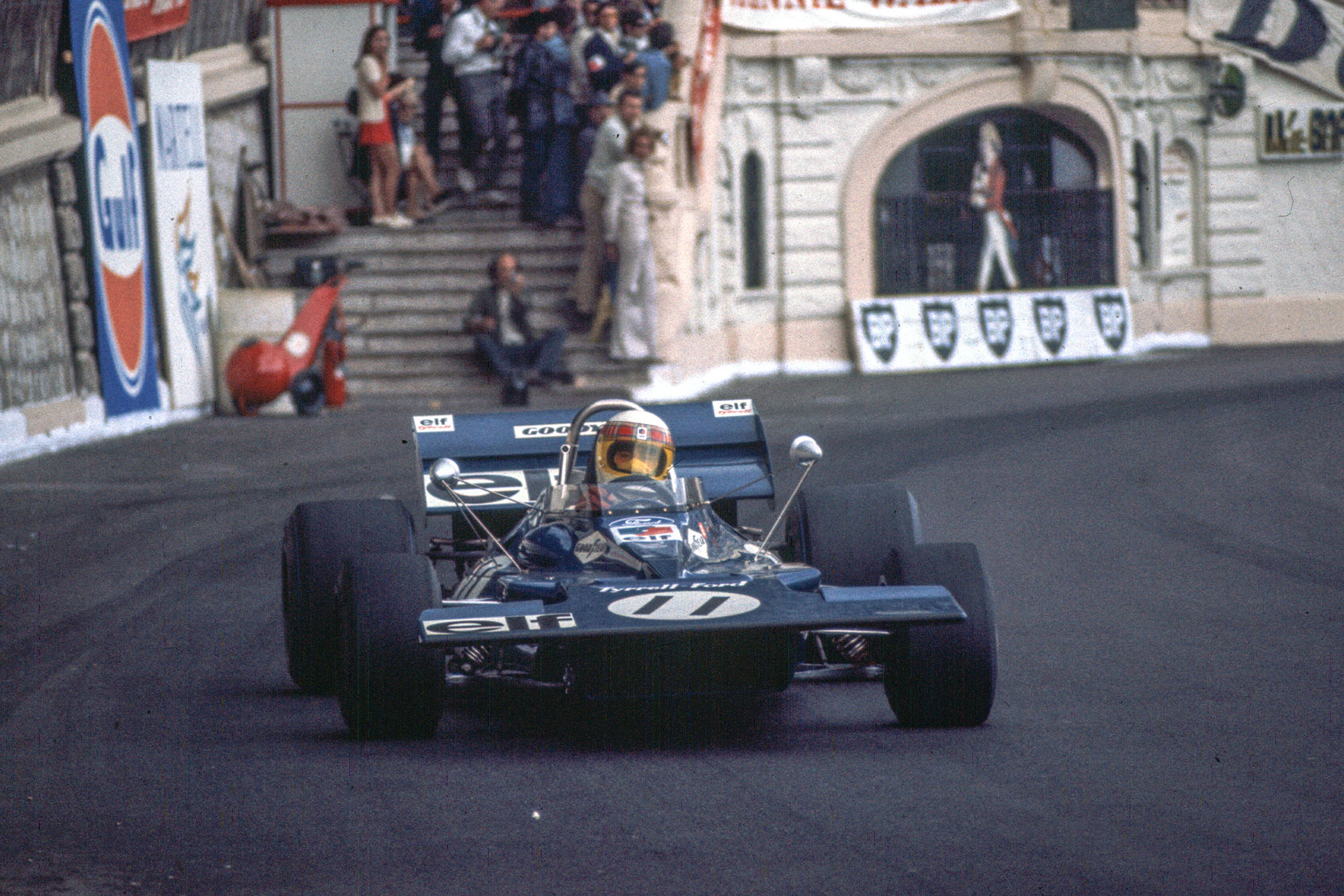 Jackie Stewart driving his Tyrrell at the 1971 Monaco Grand Prix
