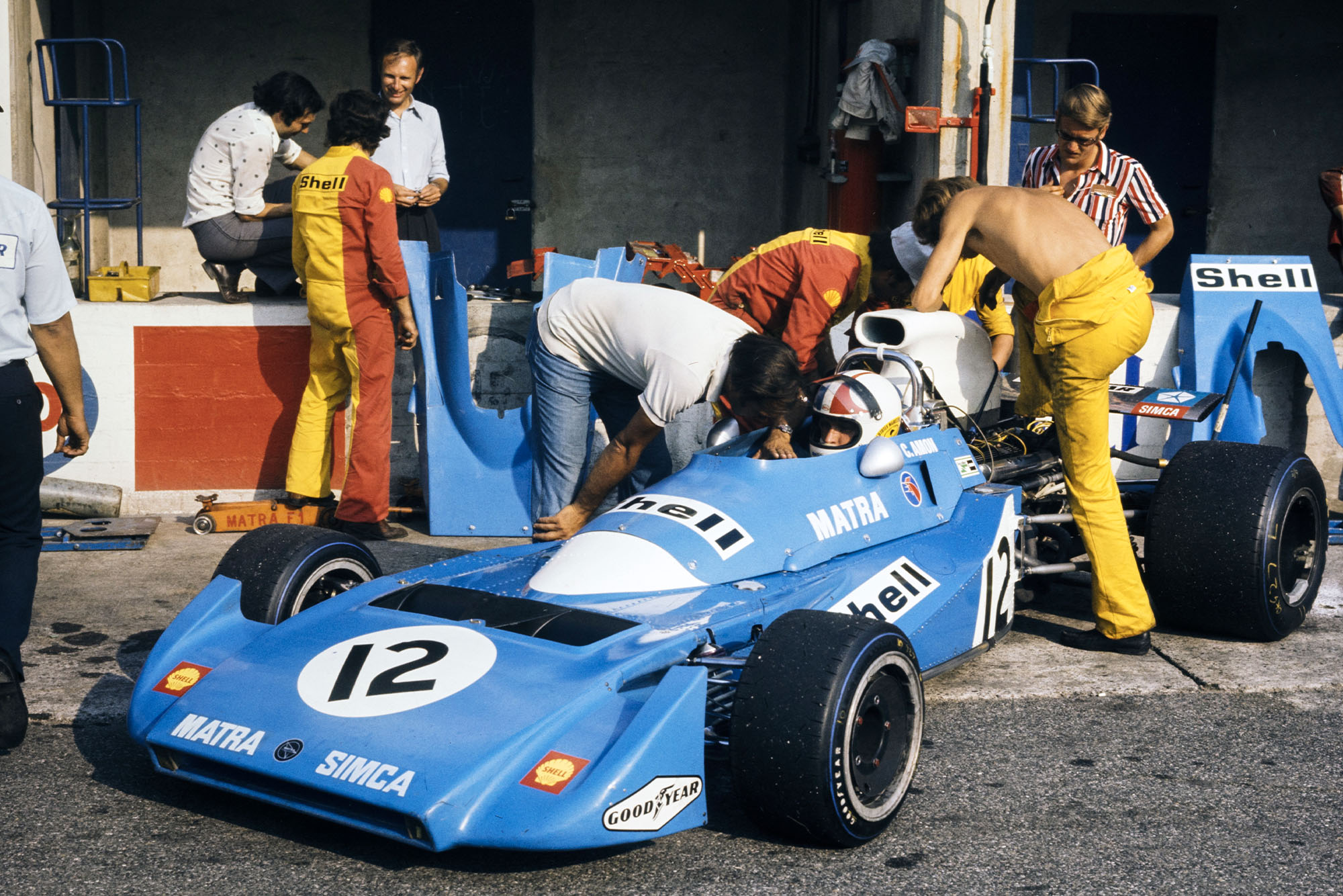 Chris Amon sits in his Matra at the 1971 Italian Grand Prix.