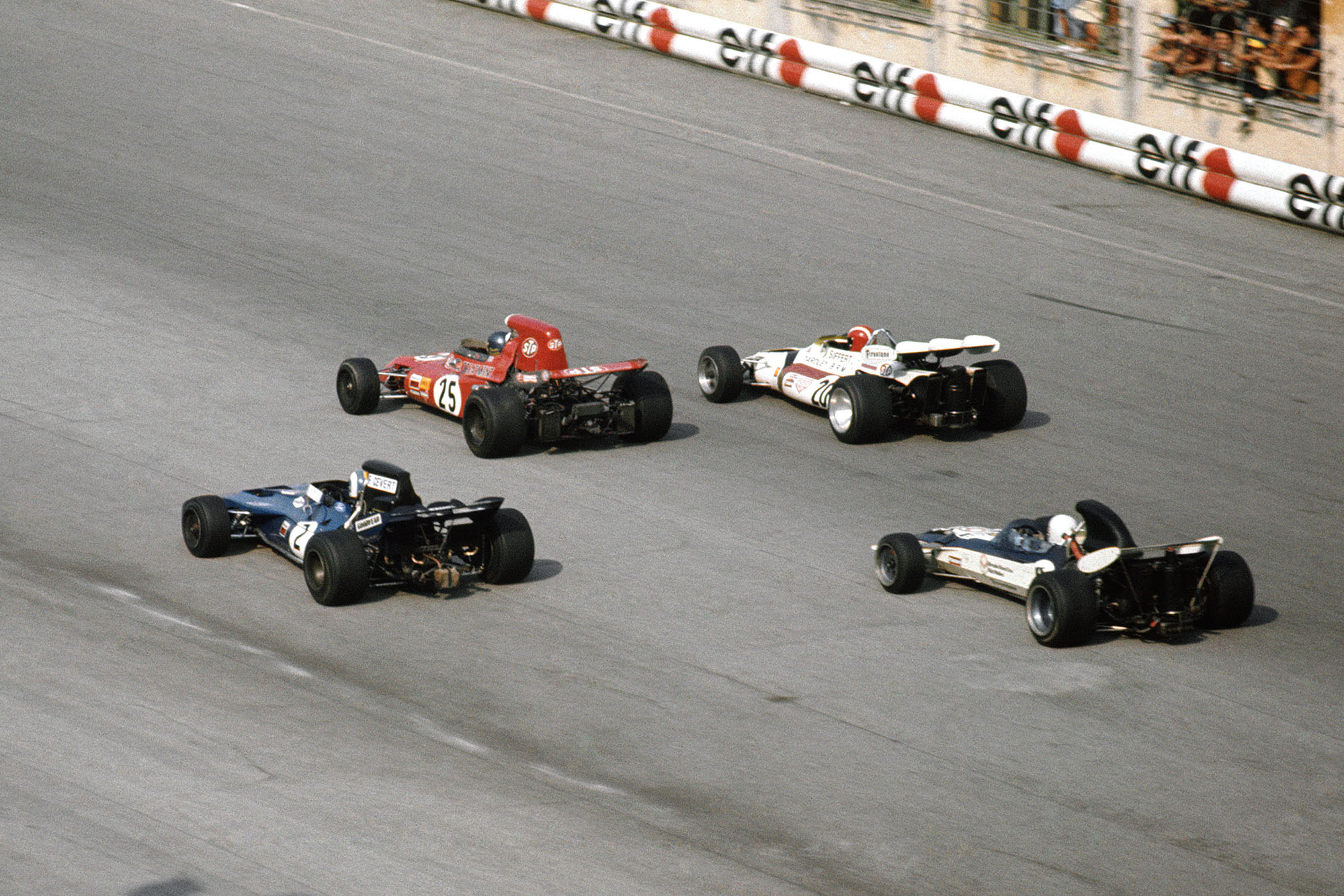 The battle for the lead continues unabated at the 1971 Italian Grand Prix.