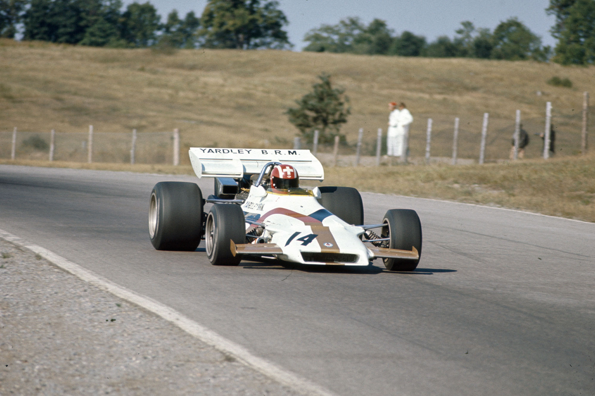 Jo Siffert taking a corner in his BRM at the 1971 Canadian Grand Prix.
