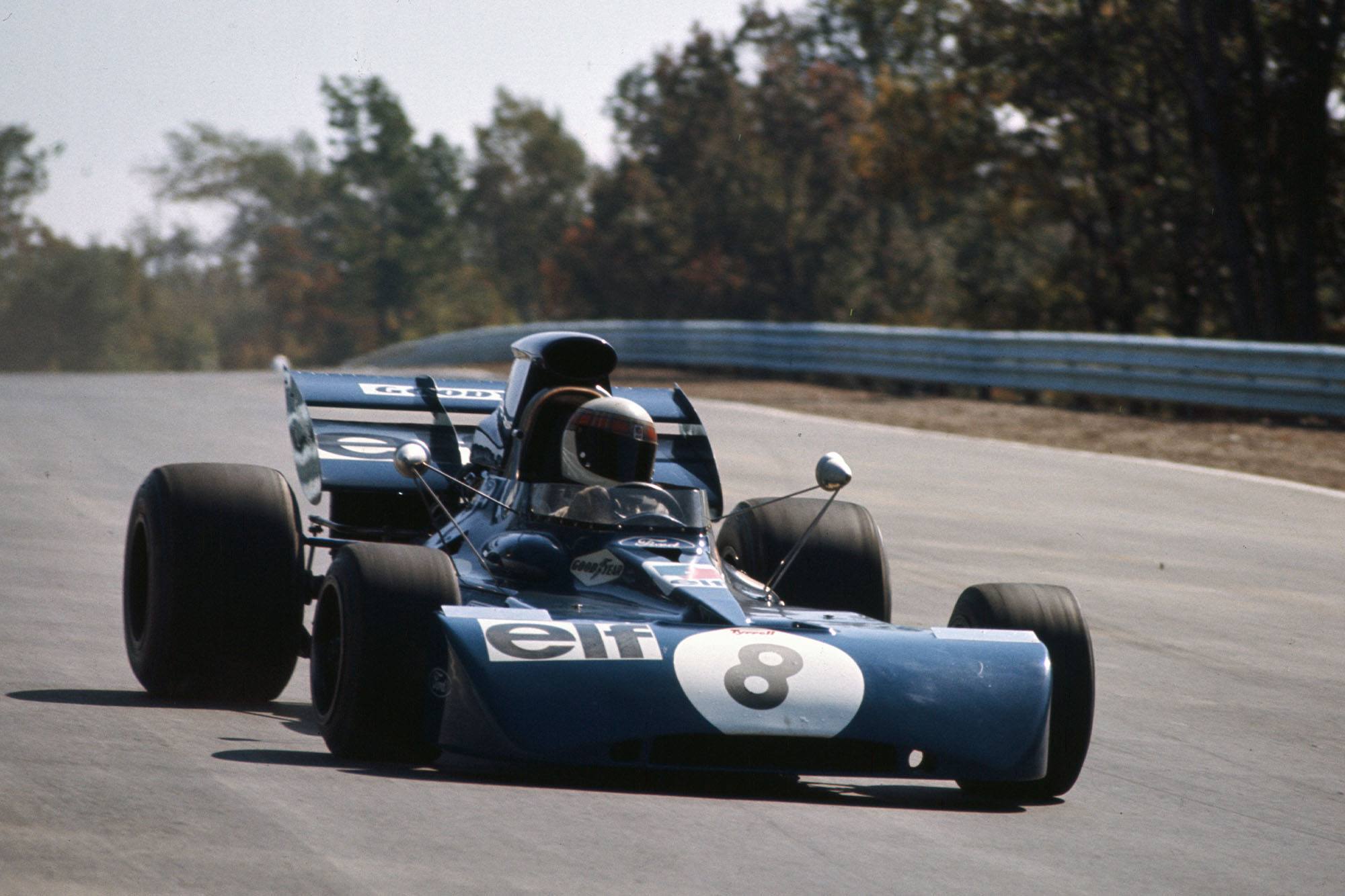 Jackie Stewart racing for Tyrrell at the 1971 United States Grand Prix