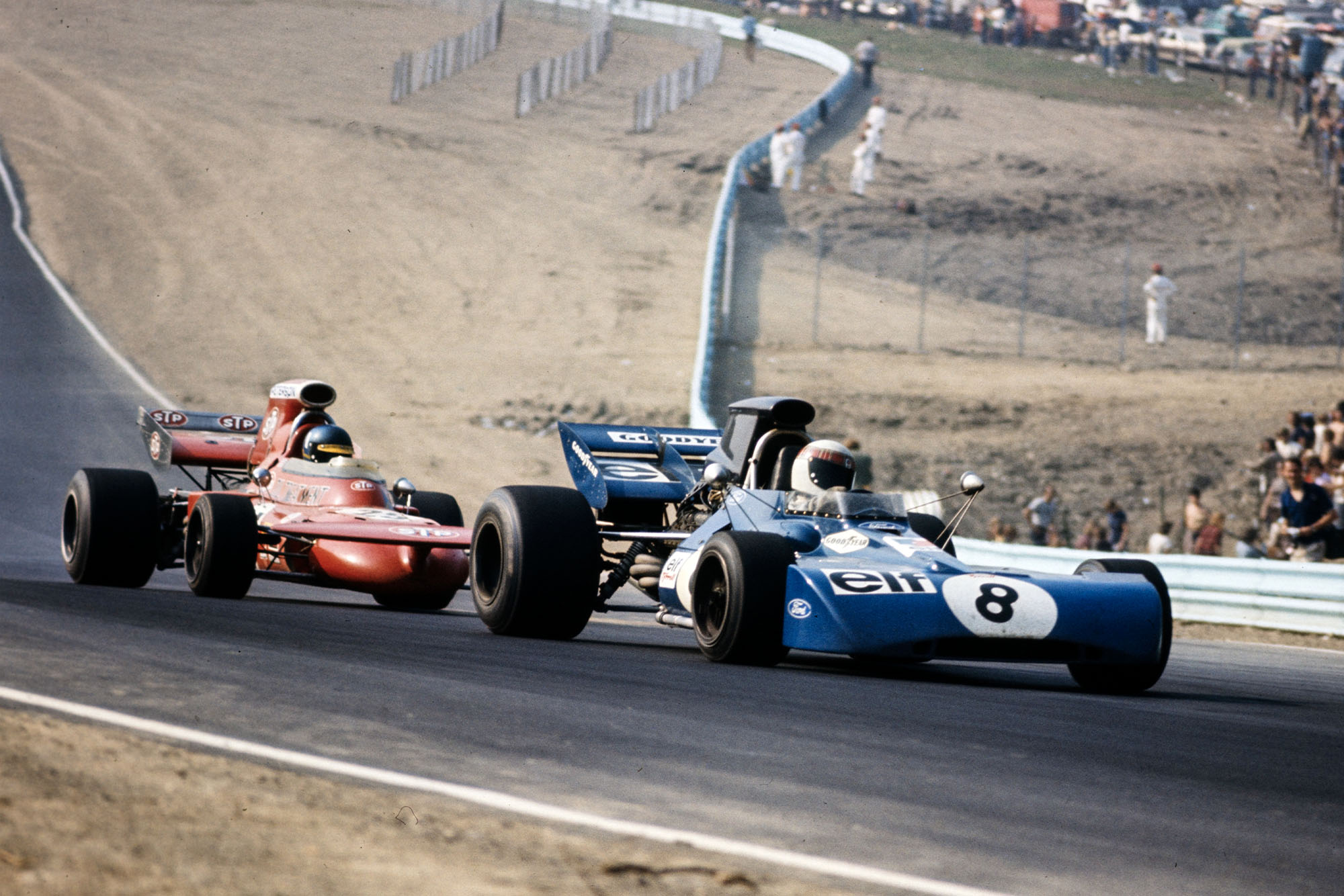 Jackie Stewart (Tyrrell) battles with Ronnie Peterson (March) at the 1971 United States Grand Prix.
