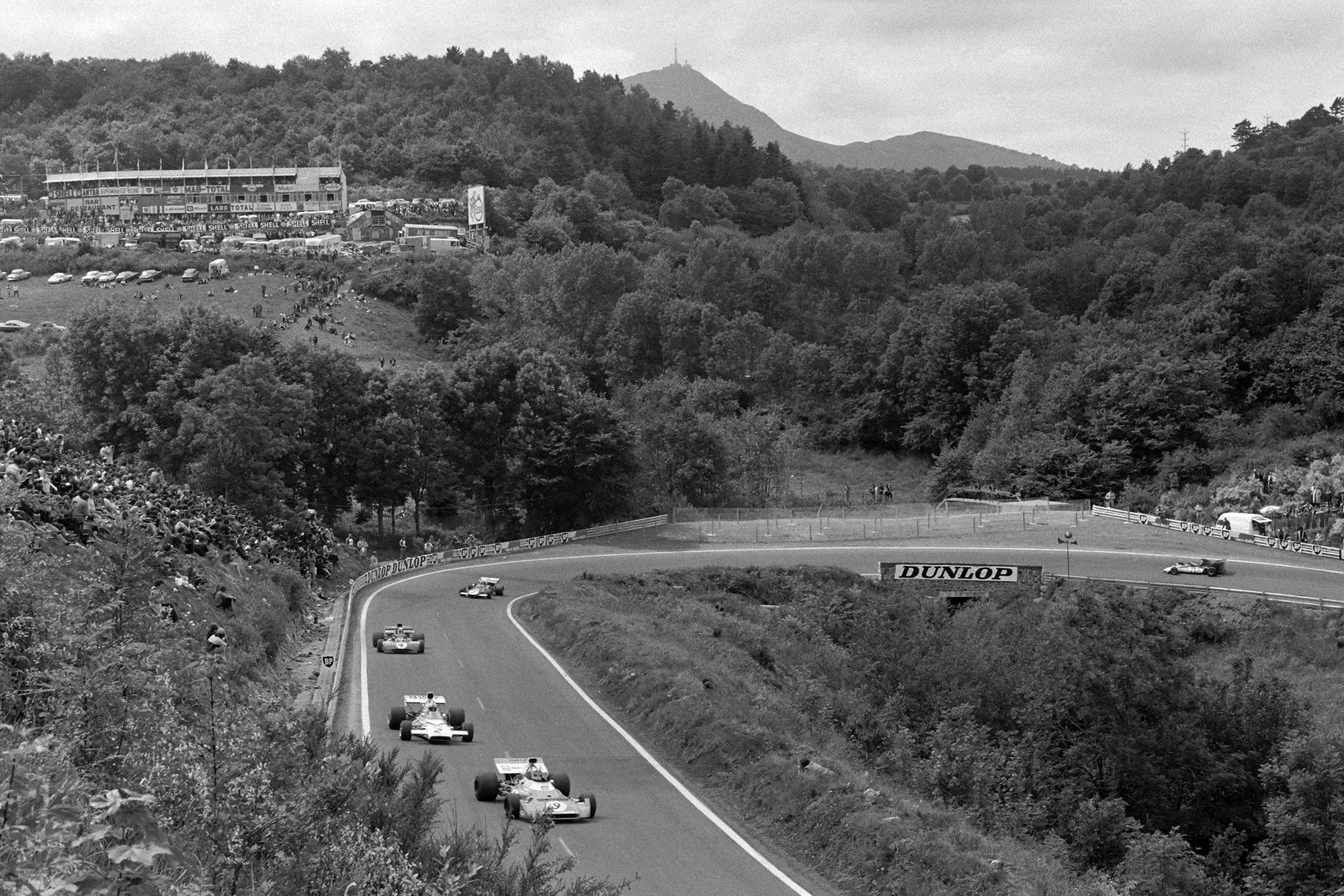 The cars thread their way through the mountainous circuit at the 1972 French Grand Prix.