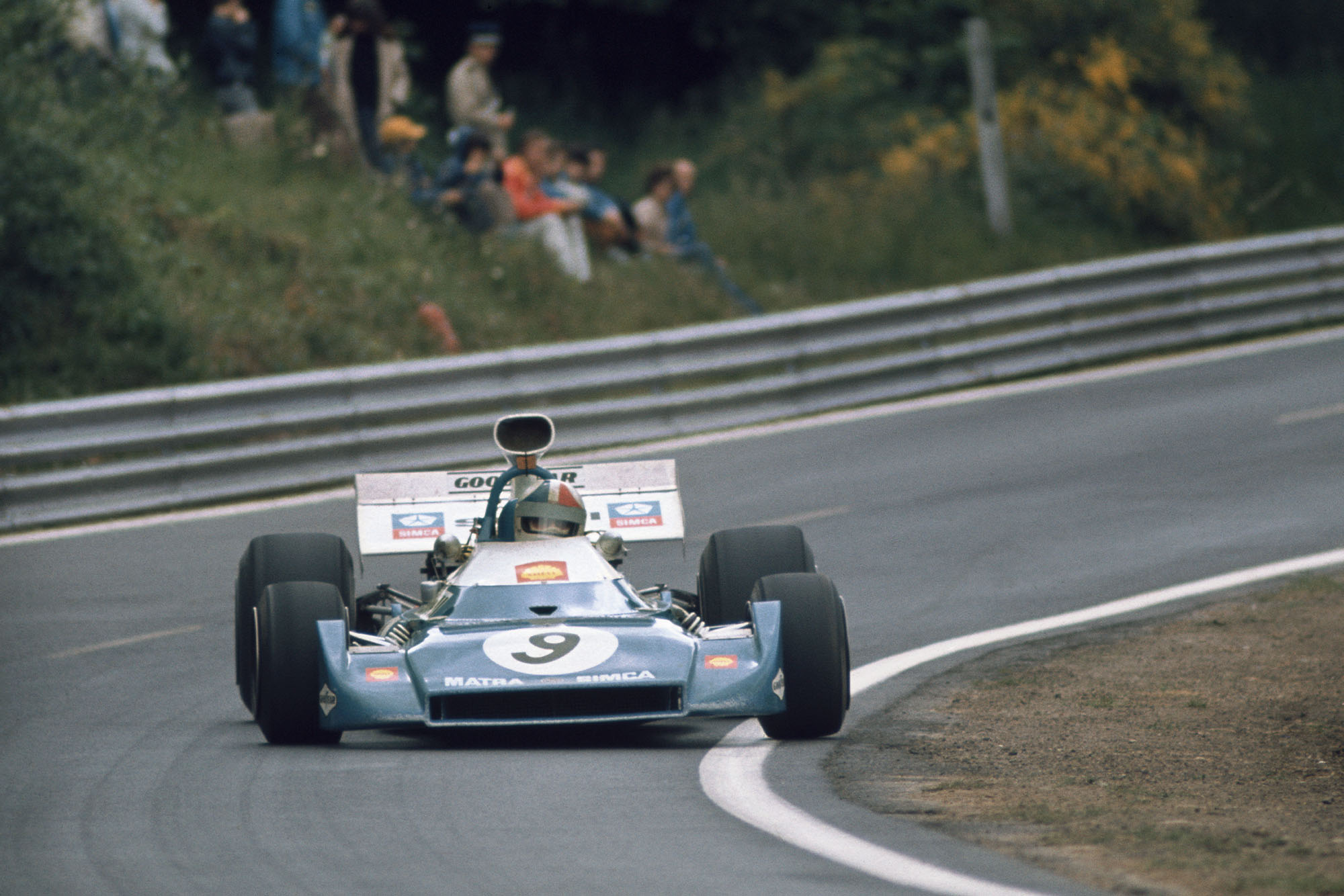 Chris Amon corners in his Matra at the 1972 French Grand Prix.