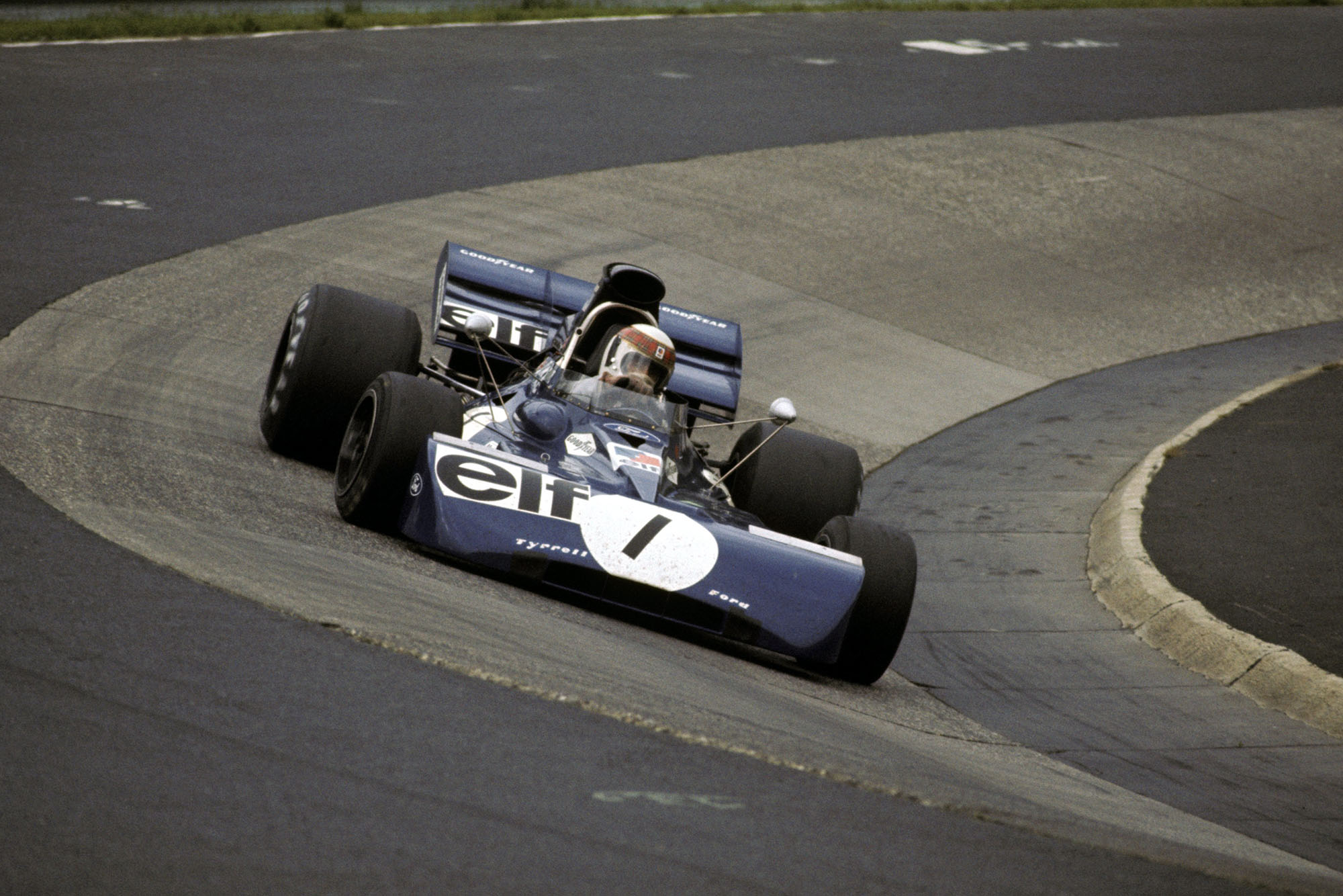 Jackie Stewart rounds the Karussell in his Tyrrell at the 1972 German Grand Prix, Nurburgring.